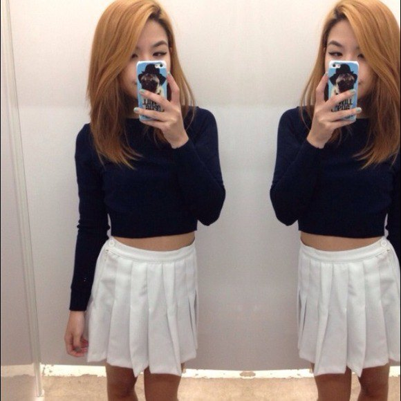 black cropped knit sweater tennis skirt
