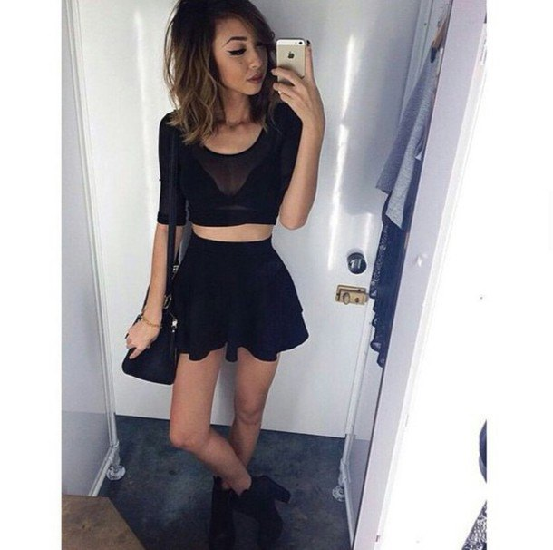 black cropped mesh top mini skater dress