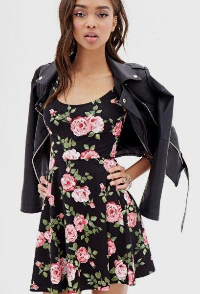 black floral skater dress leather jacket