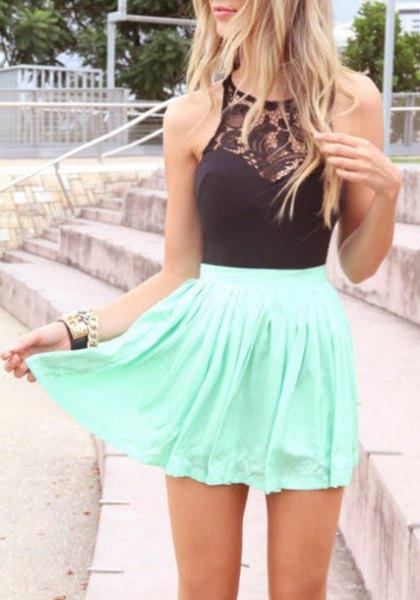 black halter top lace details white skater skirt