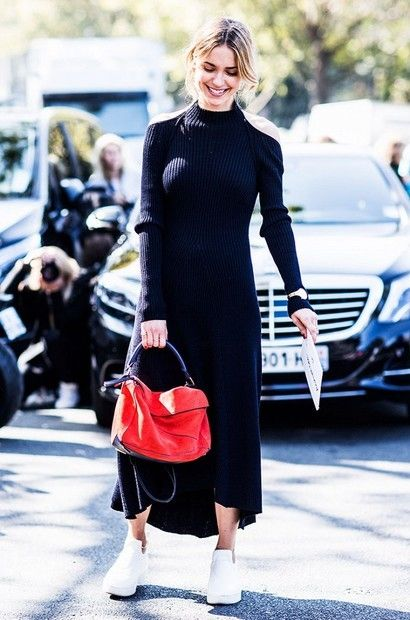 black knit dress red bag