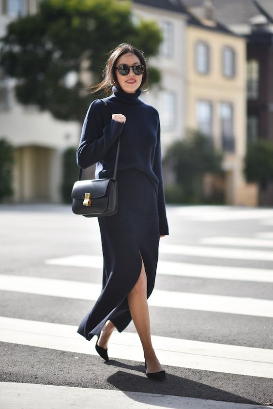 black knit dress slitted