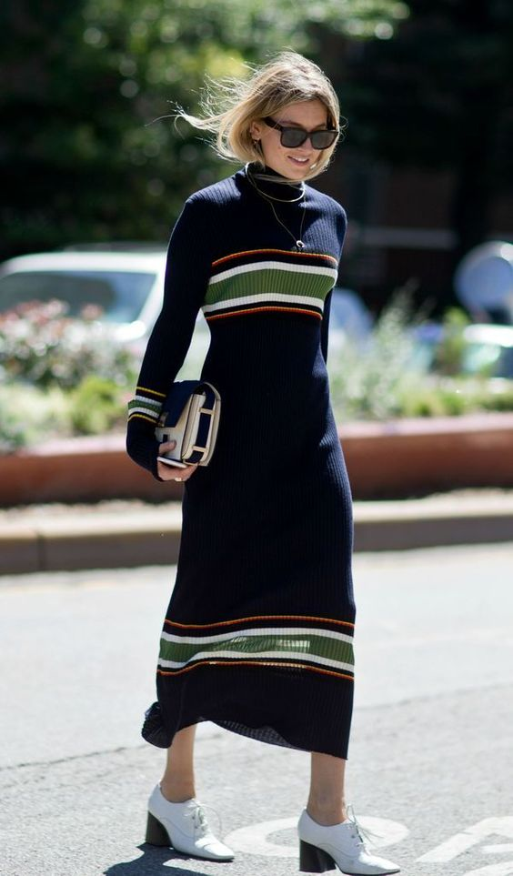 black knit dress stripes
