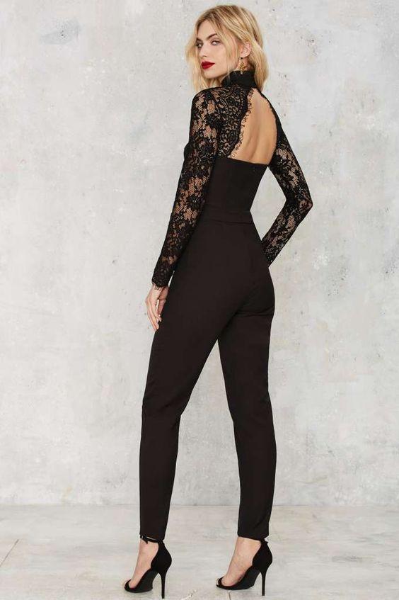 black lace jumpsuit open back
