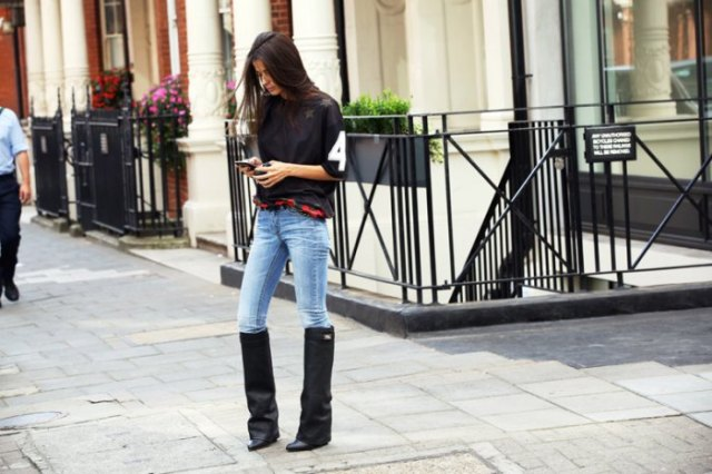 black leather wide calf boots skinny jeans