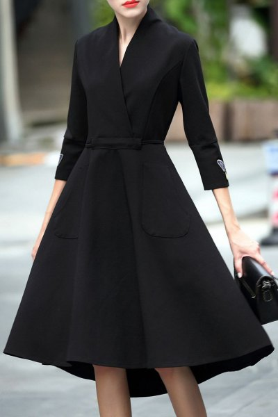 black linen fit and flare midi wrap dress