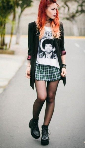 black long cardigan mini plaid skirt