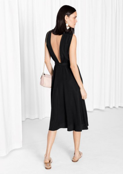black low back linen flare dress