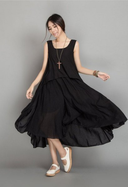 black maxi breezy tank dress