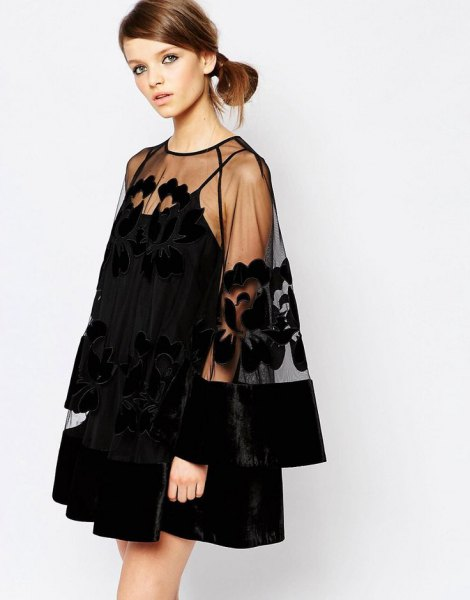 black mini swing dress sheer overlay