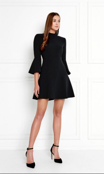 black mock neck three quarter sleeve skater dress