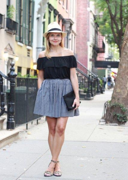 black off shoulder top plaid skater skirt