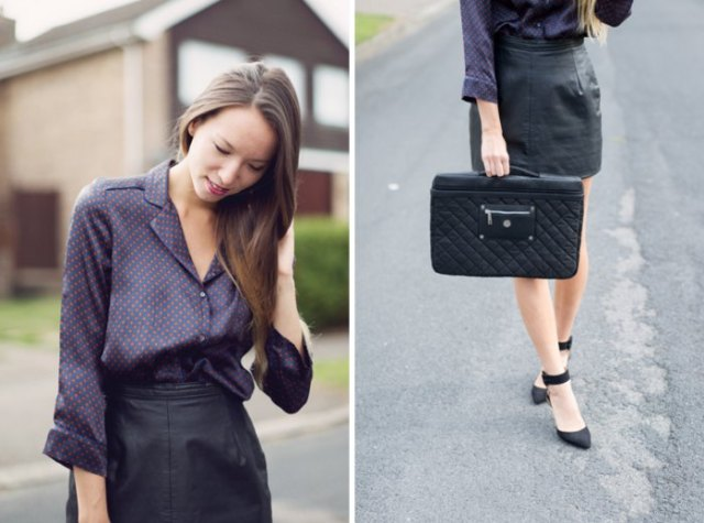 black polka dot silk shirt leather skirt