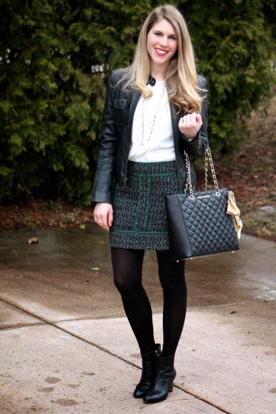 black quilted skirt leather jacket boots