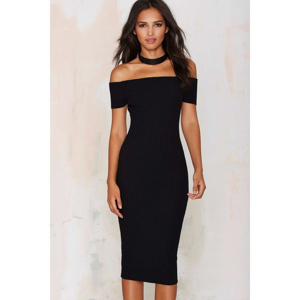 black ribbed bodycon midi dress choker