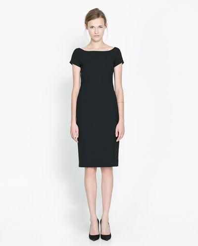 black short sleeve boat neck sheath dress