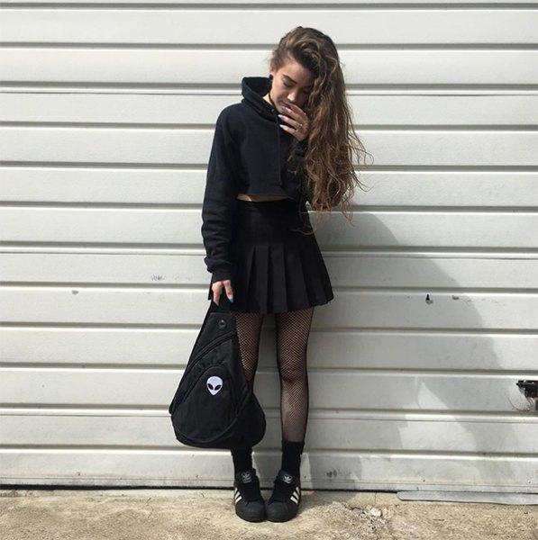 black skater dress outfit