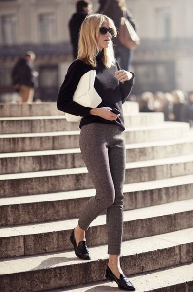 black sweater grey skinny tweed pants