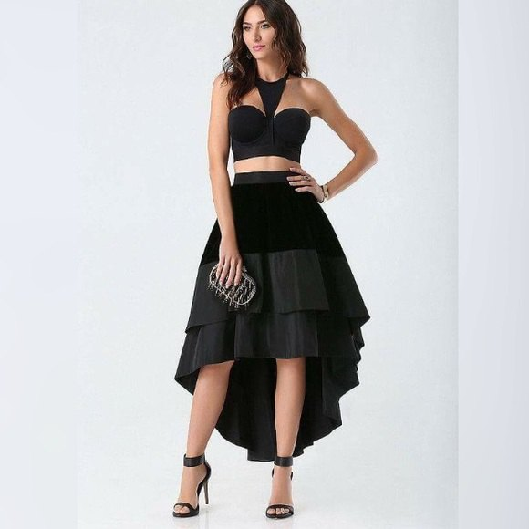 black sweetheart neckline top ruffle high low skirt