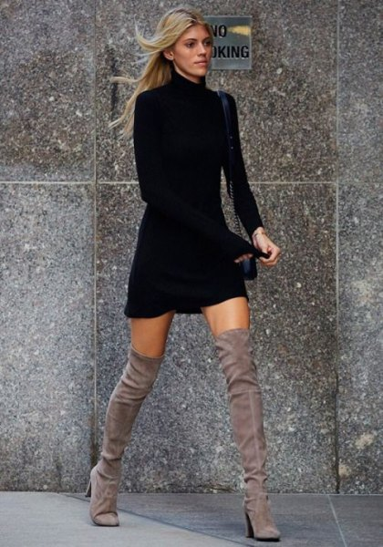 black turtleneck mini skater dress thigh high boots