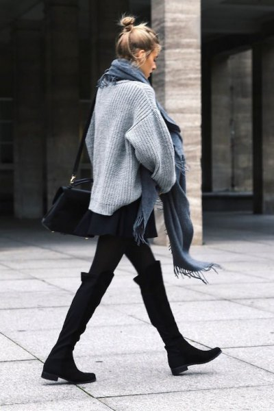 black wide calf knee high boots grey knit sweater