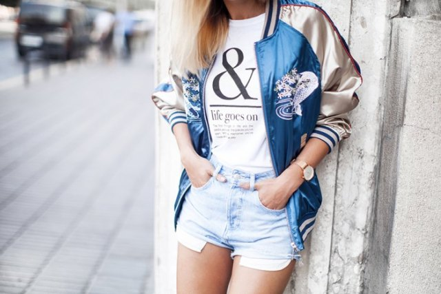 blue and gold bomber jacket denim shorts