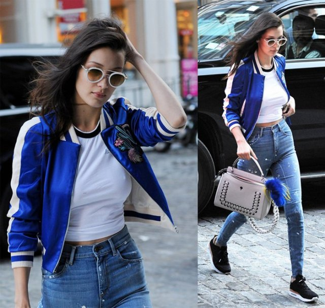 blue embroidered bomber jacket white tee
