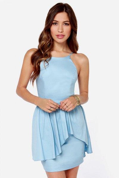 blue ruffle boydcon mini dress