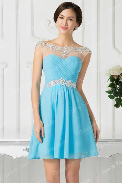 blue sweetheart neckline dress white sheer overlay