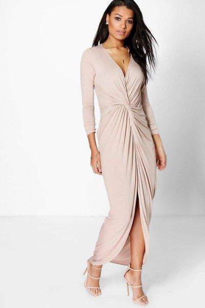 blush pink ruched wrap maxi dress