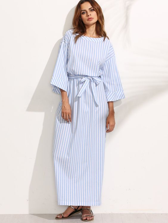 boat neck dress blue striped
