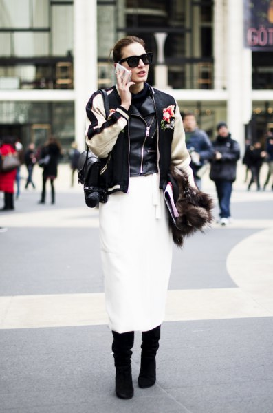 bomber jacket leather vest midi skirt