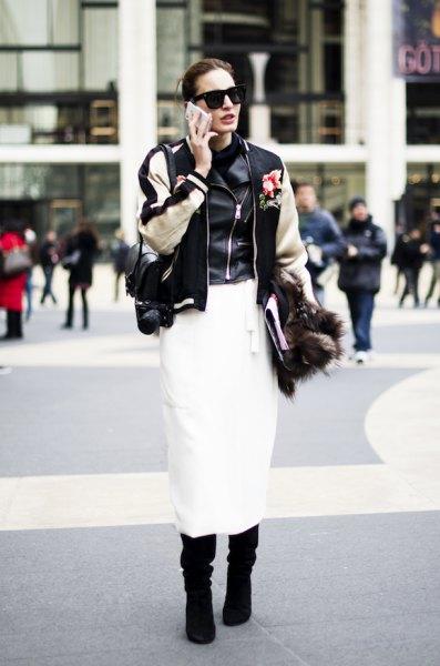 bomber jacket leather vest midi skirt