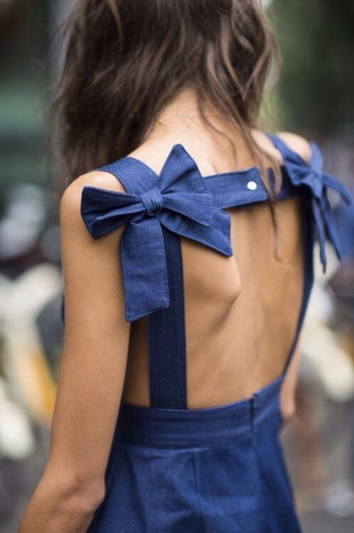 bow back dress blue two
