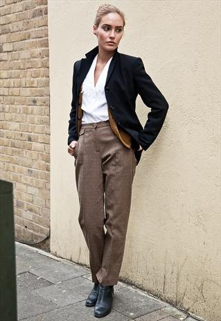 brown baggy tweed pants oversized blazer