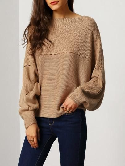 brown boat neck sweater jeans