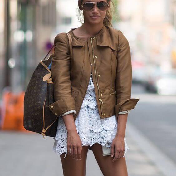 brown leather jacket white crochet mini skirt