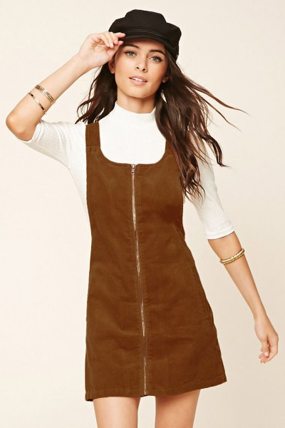 brown zip front corduroy overall dress