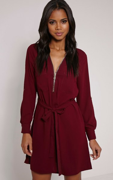 burgundy belted long sleeve shift dress