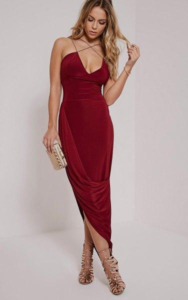burgundy criss cross strap velvet dress