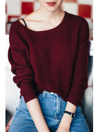 burgundy ribbed boat neck sweater over vest top