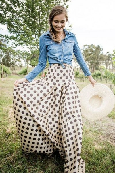 chambray button up shirt white and red maxi skirt