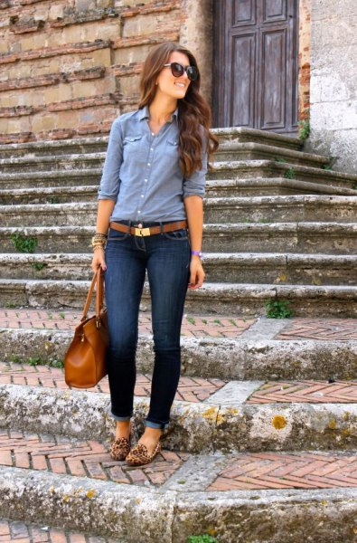 chambray shirt leopard print loafers
