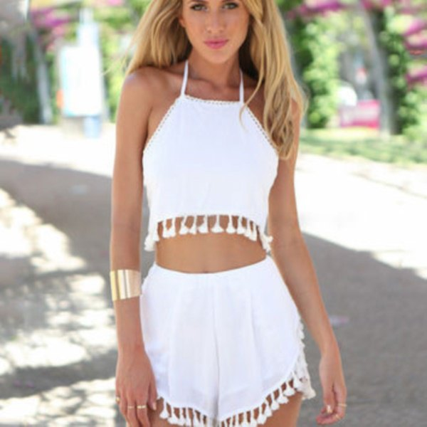 cropped halter top white tassel shorts
