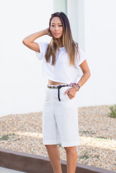 cropped tee white high waisted shorts