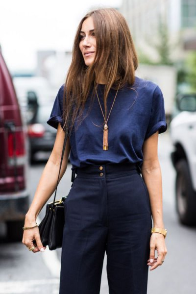 dark blue t shirt navy dress pants
