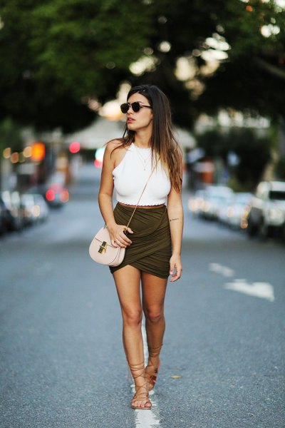 dark green skort gladiator sandals