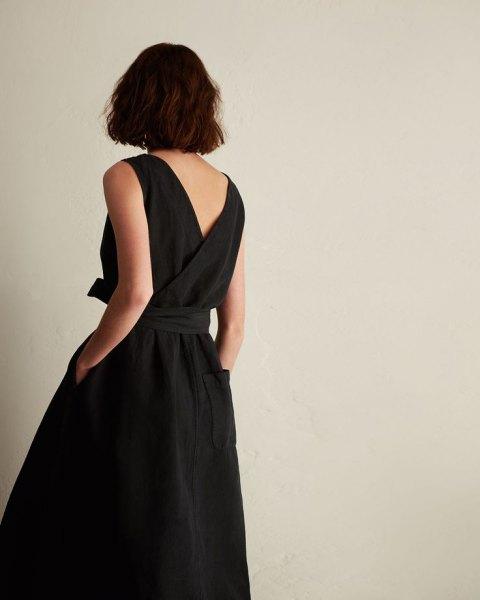 deep v back wrap belted dress