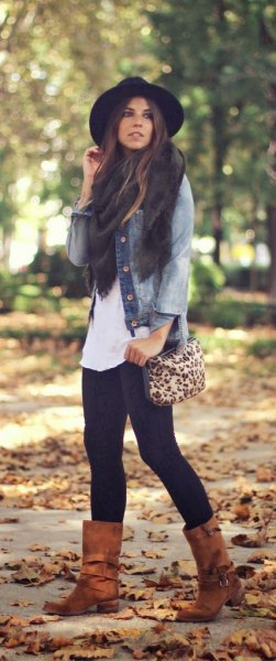 denim jacket camel wide mid calf boots