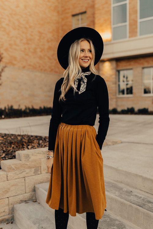 elastic waist skirt gold mustard